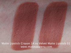MAKEUP ARENA: Golden Rose: Matte Lipstick Crayon VS Velvet Matte Lipstick