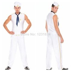 2 Sizes White Men's Sailor Costume Navy Nautical Cosplay Costume Uniform Halloween For Men Costumes Game Stage Costume-in Costumes from Appa...