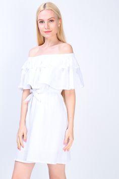 Off Shoulder Dress (White) S$ 38.00