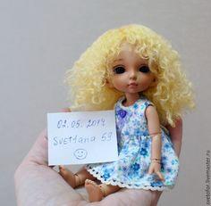 Купить Паричок для Пукифи девочки - желтый, парик кукольный, парик для куклы, парик для бжд, парик