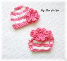Newborn Baby Girl Crochet Flower Hat & Diaper Cover Set Pink and White Stripes