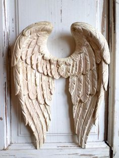 SHABBY CHIC Angel Wings Vintage Finish Wall Decor - Shabby Pink - NEW!!