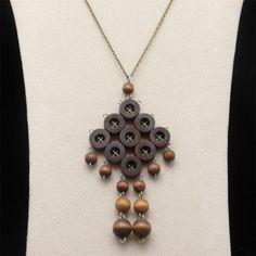 Wooden Bead Modernist Necklace Mid-Century Vintage Finland Aarikka #Aarikka #Statement