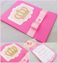 Convite Princesa    Papel texturizado rosa escuro.  Coroa em papel de scrapbooking puro glitter.  Parte central com papel metalizado rosa.    Acompanha laço chanel e strass.  Impressão interna em papel com 180gr e recorte.    Pedido mínimo de 20 unidades Princess Theme, Princess Birthday, 3rd Birthday Cakes, Birthday Celebration, Baby Invitations, Invitation Cards, Onesie Pattern, Baby Frame, Felt Decorations