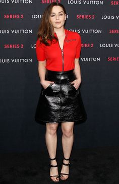 Wearing a Louis Vuitton outfit, English actress Emilia Clarke attends Louis Vuitton Series 2 The Exhibition in Hollywood on February 5, 2015. The 28-year-old…
