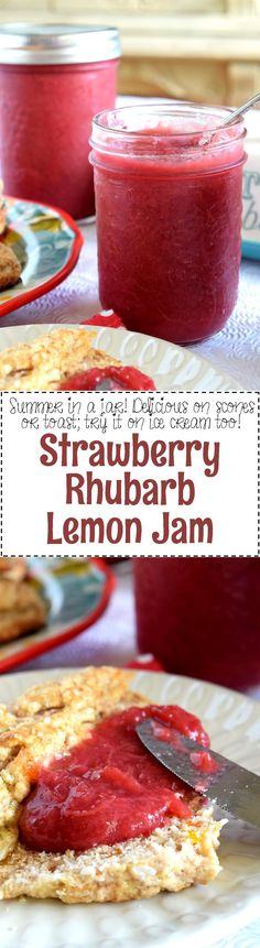 Strawberry Rhubarb Lemon Jam - This jam is as good as it gets – simple ingredients and easy preparation.  Strawberry Rhubarb Lemon Jam is the perfect small-batch recipe for all of your summertime indulgences!