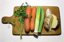 Suppengrün – Wikipedia///Suppengrün mit Petersilie, Möhren, Lauch, Knollensellerie, Petersilienwurzel und Steckrübe///Suppengrün, auch Suppengemüse, Kochgemüse, Wurzelwerk oder Wurzelzeug genannt, ist eine Mischung aus aromatischen      Wurzelgemüsen wie Möhre, Knollensellerie, Steckrübe, Petersilienwurzel,     Lauchgewächsen wie Lauch und Zwiebel und     Kräutern wie Petersilie, Selleriekraut oder Thymian  in je nach Land oder Region variierender Zusammensetzung.
