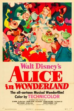 Alice, Mad Hatter, March Hare, Dormouse (mouse in tea scene), Caterpillar, Cheshire Cat, Queen of Hearts, Dee/Dum, White Rabbit, Dodo, Carpenter and Walrus (eat oysters), Doorknob, mother bird in the tree, King of Hearts, Red Rose, White Rose, Alice's sister, card soldiers