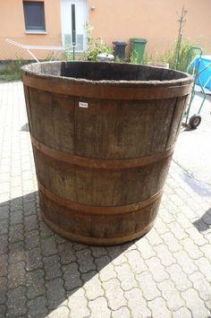 5228. Altes Holzfass Fass Wasserfass Old wooden barrel 1,23 m hoch!