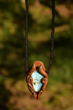 Cosmic Eye  Labradorite Wooden Necklace  Handcarved  Walnut