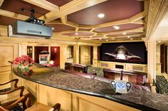 Big Screen Movie Theater With Granite Theater Counters | EDGonline