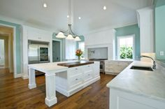 Kitchen:Light Mint Blue Paint Wall Color For Modern Country Style Kitchen Using White Kitchen Island Also Wooden Laminate Floor Over Antique… White Kitchen Interior, All White Kitchen, White Kitchen Cabinets, Interior Design Kitchen, New Kitchen, Kitchen Decor, Kitchen Ideas, Kitchen Walls, Oak Cabinets