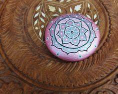 Hand painted mandala stone, Reiki infused