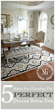 Beige Dining Room Rug Fresh 5 Rules for Choosing the Perfect Dining Room Rug Beige Dining Room, Dining Room Design, Dining Room Furniture, Dining Room Table, Rugs For Dining Room, Dining Room Inspiration, Style Inspiration, Elegant Dining, Diy Home