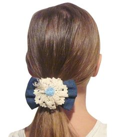 Slap Band Pony - Denim And Lace Slap Band Pony -- You can get more details by clicking on the image.