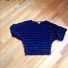 Blue scoop neck sweater Shorter sleeve, sequins sewn into fabric, striped New York & Company Sweaters Crew & Scoop Necks