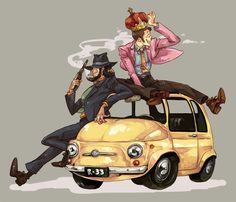 Lupin III, Jigen Daisuke, 500, Cigarette Conan, Lupin The Third, Animation, Comic Games, Fiat 500, Anime Figures, Comic Covers, Studio Ghibli, Cool Drawings