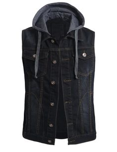 This premium denim vest with detachable hoodie is the perfect piece to layer over a t-shirt for an effortless edgy look. The subtle fading gives this vest a vintage feel that will never go out of styl Denim Vest Men, Jean Vest, Waistcoat Men, Sleeveless Jacket, Hoodie Jacket, Swagg, Hoodies, Clothes For Women, Latex Fashion