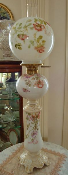 Antique Limoges France Hand Painted Victorian Banquet Lamp Gone with from theverybest on Ruby Lane♥ Antique Hurricane Lamps, Hurricane Oil Lamps, Antique Oil Lamps, Old Lamps, Vintage Lamps, Victorian Lighting, Victorian Lamps, Victorian Home Decor, Antique Lighting