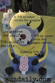 Details on how to make a minion cake.  Cute despicable me cake!