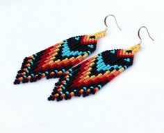 Indianer Perlen Ohrringe inspiriert. Geometrische von Burvesrotas
