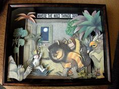 cut out illustrations from children's books and attach to backgrounds for 3D effect
