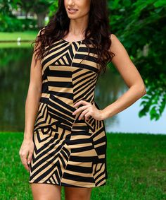 This Black & Tan Geo Prism Sleeveless Dress by Modern Touch is perfect! #zulilyfinds