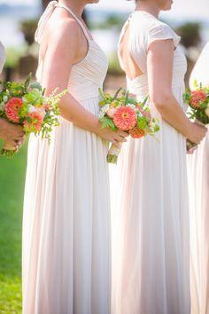 Beautiful bridesmaid inspiration: http://www.stylemepretty.com/south-carolina-weddings/charleston/2015/03/02/rustic-lowndes-grove-wedding/ | Photography: Dana Cubbage - http://danacubbageweddings.com/