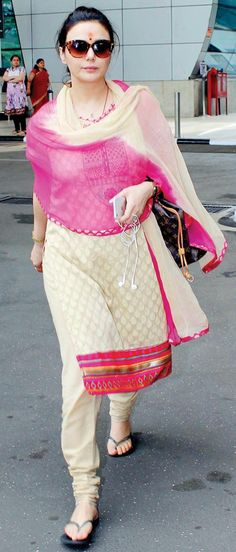 Preity Zinta at Mumbai airport. #Bollywood #Fashion #Style #Beauty #Desi