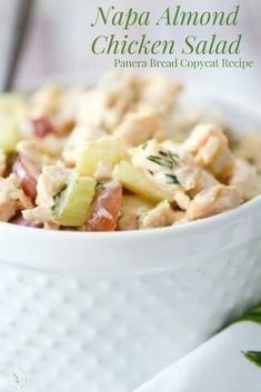 This Panera Bread copycat recipe for Napa Almond Chicken Salad made with tender white meat chicken, slivered almonds and grapes in a honey lemon herb mayonnaise makes a tasty sandwich for lunch or… More Chicken Salad Recipe With Almonds, Chicken Salad Recipes, Chicken And Wild Rice, Wild Rice Soup, Sandwiches For Lunch, Delicious Sandwiches, Tuna Macaroni Salad, Lemon Herb, Honey Lemon