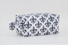 Fleur De Lis Quilted Cosmetic Bag with by DoreensBabyBoutique