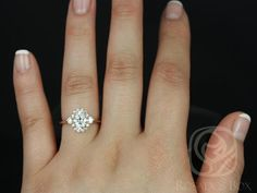 Britney 8x6mm 14kt Rose Gold Oval F1 Moissanite and Diamonds