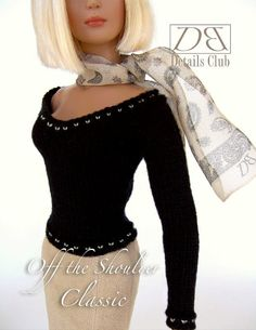 Knitting pattern for 16 inch fashion dolls: Off the Shoulder Sweater