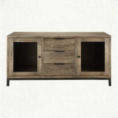 Crafted of solid American oak & an iron base, the Arhaus Palmer 2 Door Media Console In Ashland Natural creates a warm, contemporary style. Weathered Furniture, Distressed Furniture, Media Furniture, Living Room Furniture, Furniture Ideas, Basement Apartment Decor, Sweet Home Design, Kitchen Family Rooms, Living Room Seating