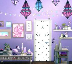 Nice door stickers at Sashas93 via Sims 4 Updates