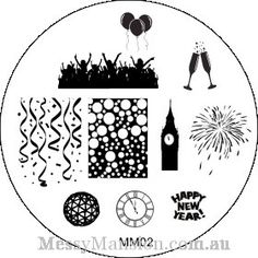 Nail Art Stamping Image Plate MM02 New Years Eve by MessyMansion, $7.00