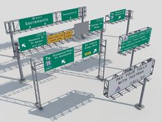Highway signs Model available on Turbo Squid, the world's leading provider of digital models for visualization, films, television, and games. Slot Car Tracks, Slot Cars, Sir Francis, 3d Max, Miniature Houses, Aesthetic Vintage, Model Trains, Game Design, Trains