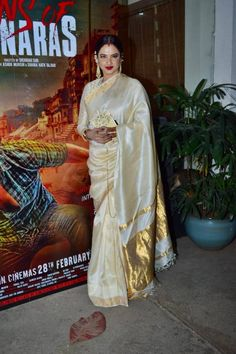 Every time Rekha made us fall in love with saris; see pics | Lifestyle News,The Indian Express Red Ombre Lips, White Sari, Classic Makeup Looks, Green Sari, Golden Blouse, Heavy Earrings, New Fashion Trends, New Trends, We Fall In Love