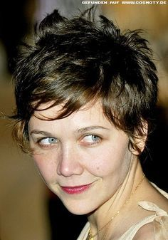 Image result for maggie gyllenhaal short hair Short Pixie, Short Cuts, Pixie Cuts, Maggie Gyllenhaal, Cute Cuts, Pixie Hairstyles, All Things Beauty, Cut And Style, Hair And Nails