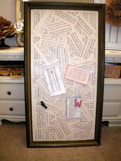 Decoupage pages over metal sheets = awesome magnetic message board