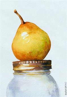 """ PEAR ON CANNING JAR "" - Original Fine Art for Sale - © Dwight Smith"