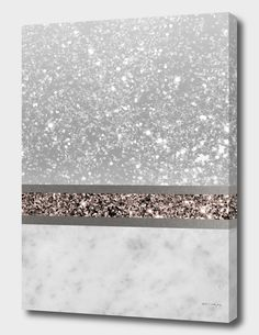 Marble Rose Gold Glitter Stripe Glam Canvas Print by Anita's & Bella's Art Glitter Accent Wall, Glitter Wall Art, Glitter Canvas, Gold Glitter, Glitter Wallpaper, Silver Wall Art, Silver Bedroom Decor, Silver Room, Glitter Bedroom