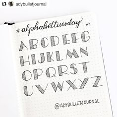 Repost with ・・・ planwithmechallenge day 4 any spread someone asked me if i had a view of the whole alphabet for this font here it is and what about an alphabettuesday every tuesday i ll post a picture like this one with the who Hand Lettering Alphabet, Doodle Lettering, Creative Lettering, Lettering Styles, Calligraphy Letters, Alphabet Fonts, Caligraphy, Bullet Journal Font, Journal Fonts