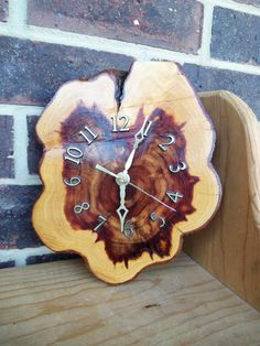 Vintage 70s Cedar Clock Wooden Tree Trunk Kitsch
