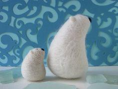 Polar Bear Mom and Cub by Woolnimals, via Flickr