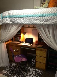 i like the curtains! But I'd put a chair under the bed instead of the desk and put lights around the perimeter on the inside.