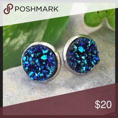 Blue Druzy Earrings - Handmade!! Gorgeous blue druzy stones set in stainless steel stud earring settings. Jewelry Earrings