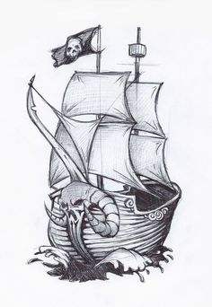 pirate ship drawing | pirate ship by *jafaime on deviantART