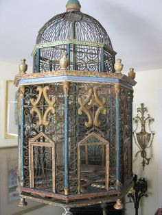 Exceptional antique architectural Italian birdcage old surface finials old paint