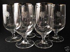 6-Schott-Zwiesl-Neckar-Rose-Cut-2566-Iced-Tea-Glass-Wine-Crystal-German-Stems
